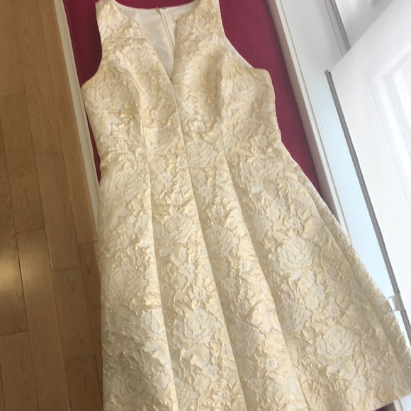 Champagne floral patterned embossed sparkly dress